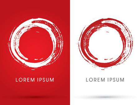 round logo: O alphabet0Zero Blood stains designed using brush grunge logo symbol icon graphic vector.