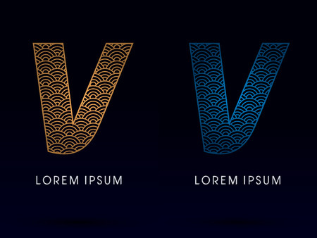 V Luxury font designed using gold and blue line concept shape from water river sea ocean fish scale logo symbol icon graphic vector. Vector