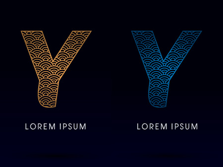 ocean fish: Y Luxury font designed using gold and blue line concept shape from water river sea ocean fish scale logo symbol icon graphic vector.