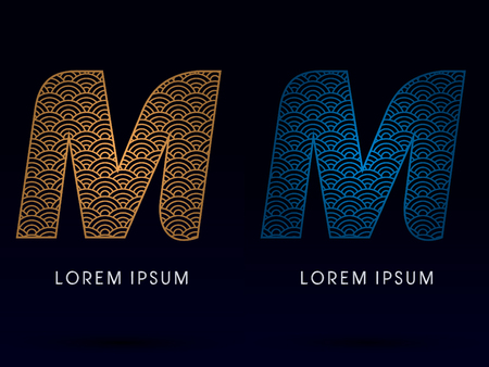 ocean fish: M Luxury font designed using gold and blue line concept shape from water river sea ocean fish scale logo symbol icon graphic vector. Illustration