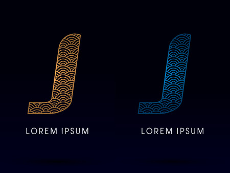 ocean fish: J Luxury font designed using gold and blue line concept shape from water river sea ocean fish scale logo symbol icon graphic vector.