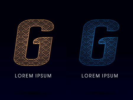 ocean fish: G Luxury font designed using gold and blue line concept shape from water river sea ocean fish scale logo symbol icon graphic vector.