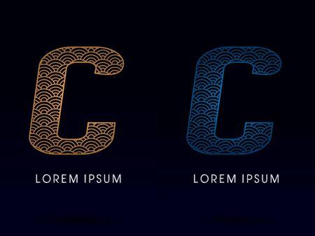 C police de luxe conçu en utilisant l'or et bleu concept de forme de la ligne de la rivière d'eau de mer océan écaille de poisson logo symbole vecteur icône graphique.