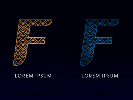 ocean fish: F Luxury font designed using gold and blue line concept shape from water river sea ocean fish scale logo symbol icon graphic vector.