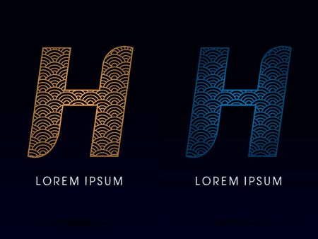 ocean fish: H Luxury font designed using gold and blue line concept shape from water river sea ocean fish scale logo symbol icon graphic vector.