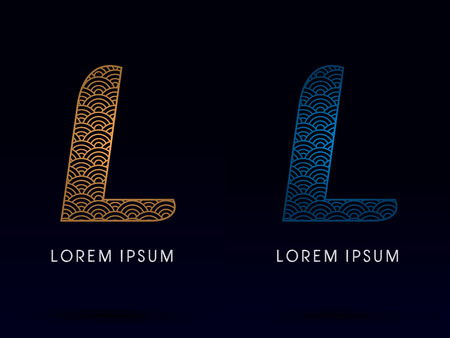 L Luxury font designed using gold and blue line concept shape from water river sea ocean fish scale logo symbol icon graphic vector.