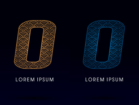 ocean fish: O Luxury font designed using gold and blue line concept shape from water river sea ocean fish scale logo symbol icon graphic vector.
