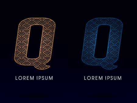 ocean fish: Q Luxury font designed using gold and blue line concept shape from water river sea ocean fish scale logo symbol icon graphic vector.