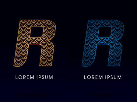 ocean fish: R Luxury font designed using gold and blue line concept shape from water river sea ocean fish scale logo symbol icon graphic vector.
