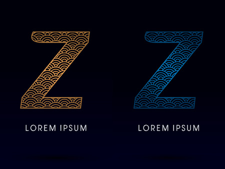 ocean fish: Z Luxury font designed using gold and blue line concept shape from water river sea ocean fish scale logo symbol icon graphic vector. Illustration