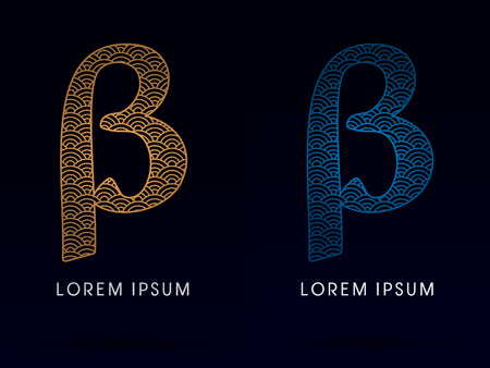 ocean fish: Beta Luxury font designed using gold and blue line concept shape from water river sea ocean fish scale logo symbol icon graphic vector. Illustration
