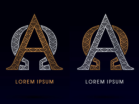 Alpha and Omega Luxury font designed using gold and blue line concept shape from water river sea ocean fish scale logo symbol icon graphic vector. Vectores