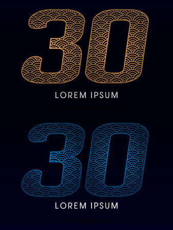 ocean fish: 30 Number Luxury font designed using gold and blue line concept shape from water river sea ocean fish scale logo symbol icon graphic vector. Illustration