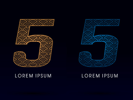 ocean fish: 5 Number Luxury font designed using gold and blue line concept shape from water river sea ocean fish scale logo symbol icon graphic vector.