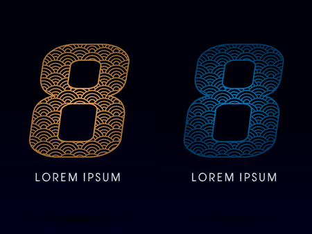 fish scale: 8 Number Luxury font designed using gold and blue line concept shape from water river sea ocean fish scale logo symbol icon graphic vector.