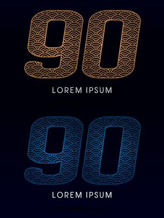 ocean fish: 90 Number Luxury font designed using gold and blue line concept shape from water river sea ocean fish scale logo symbol icon graphic vector.