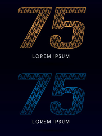 fish scale: 75 Number Luxury font designed using gold and blue line concept shape from water river sea ocean fish scale logo symbol icon graphic vector. Illustration