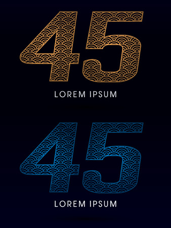 ocean fish: 45 Number Luxury font designed using gold and blue line concept shape from water river sea ocean fish scale logo symbol icon graphic vector.