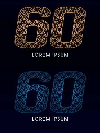 fish scale: 60 Number Luxury font designed using gold and blue line concept shape from water river sea ocean fish scale logo symbol icon graphic vector. Illustration