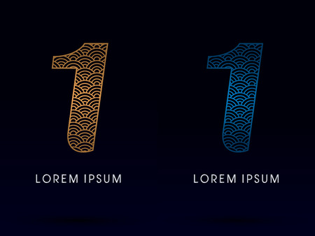 fish scale: 1 Number Luxury font designed using gold and blue line concept shape from water river sea ocean fish scale logo symbol icon graphic vector.