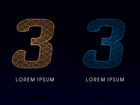 fish scale: 3 Number Luxury font designed using gold and blue line concept shape from water river sea ocean fish scale logo symbol icon graphic vector. Illustration