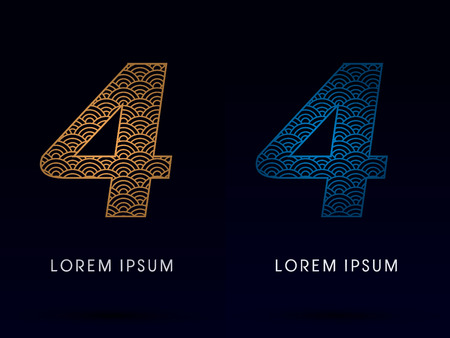 fish scale: 4 Number Luxury font designed using gold and blue line concept shape from water river sea ocean fish scale logo symbol icon graphic vector.