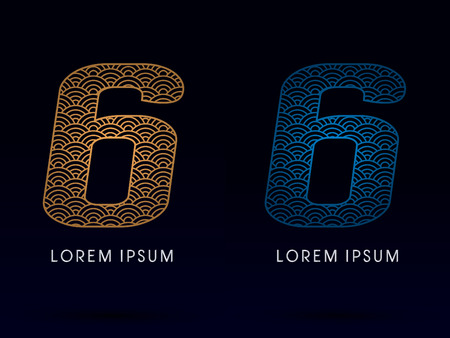 fish scale: 6 Number Luxury font designed using gold and blue line concept shape from water river sea ocean fish scale logo symbol icon graphic vector.