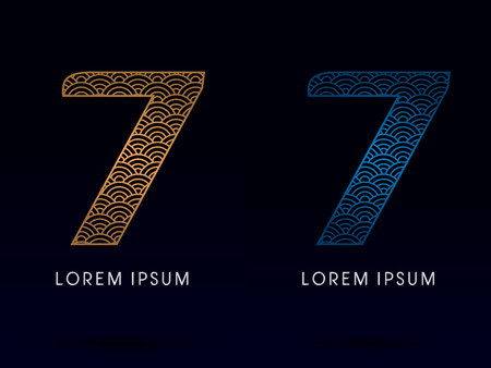 fish scale: 7 Number Luxury font designed using gold and blue line concept shape from water river sea ocean fish scale logo symbol icon graphic vector. Illustration