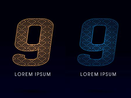 ocean fish: 9 Number Luxury font designed using gold and blue line concept shape from water river sea ocean fish scale logo symbol icon graphic vector.