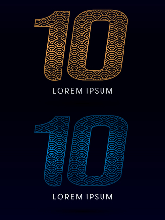 ocean fish: 10 Number Luxury font designed using gold and blue line concept shape from water river sea ocean fish scale logo symbol icon graphic vector.