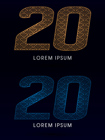 fish scale: 20 Number Luxury font designed using gold and blue line concept shape from water river sea ocean fish scale logo symbol icon graphic vector. Illustration