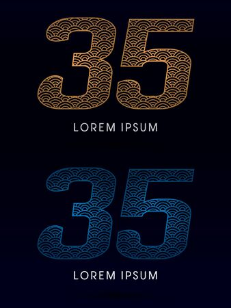 ocean fish: 35 Number Luxury font designed using gold and blue line concept shape from water river sea ocean fish scale logo symbol icon graphic vector.