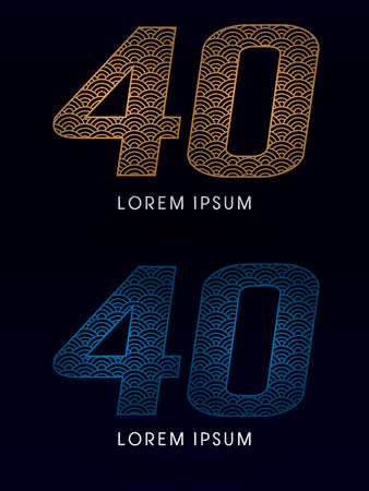 fish scale: 40 Number Luxury font designed using gold and blue line concept shape from water river sea ocean fish scale logo symbol icon graphic vector.