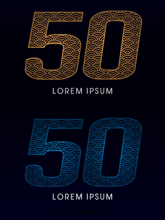 50 number: 50 Number Luxury font designed using gold and blue line concept shape from water river sea ocean fish scale logo symbol icon graphic vector.