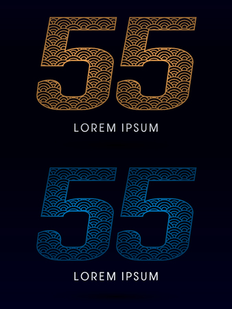 fish scale: 55 Number Luxury font designed using gold and blue line concept shape from water river sea ocean fish scale logo symbol icon graphic vector.