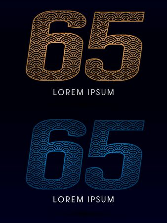 ocean fish: 65 Number Luxury font designed using gold and blue line concept shape from water river sea ocean fish scale logo symbol icon graphic vector. Illustration