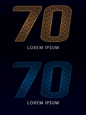 fish scale: 70 Number Luxury font designed using gold and blue line concept shape from water river sea ocean fish scale logo symbol icon graphic vector. Illustration