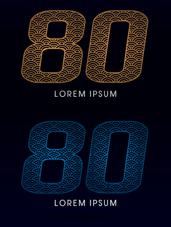 fish scale: 80 Number Luxury font designed using gold and blue line concept shape from water river sea ocean fish scale logo symbol icon graphic vector.