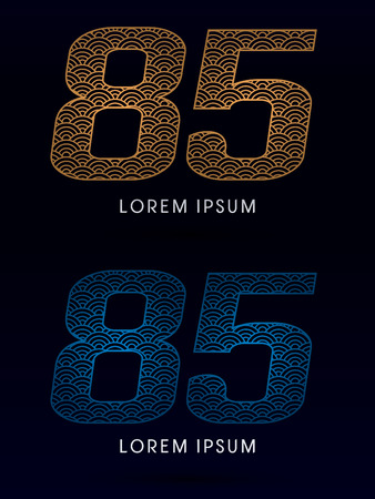 fish scale: 85 Number Luxury font designed using gold and blue line concept shape from water river sea ocean fish scale logo symbol icon graphic vector.