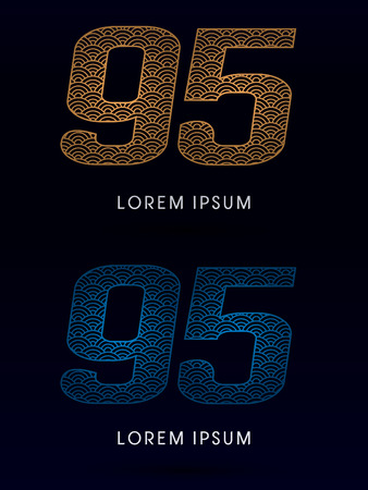fish scale: 95 Number Luxury font designed using gold and blue line concept shape from water river sea ocean fish scale logo symbol icon graphic vector.
