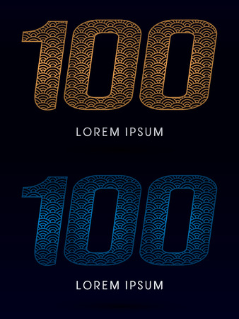 screen type: 100 Number Luxury font designed using gold and blue line concept shape from water river sea ocean fish scale logo symbol icon graphic vector.