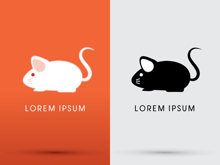 mouse icon: Black and white Mouse Rat  Cartoon cute logo symbol icon graphic vector.