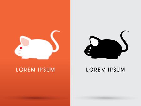 rata caricatura: Blanco y negro logotipo lindo icono s�mbolo gr�fico vectorial rata del rat�n de dibujos animados.