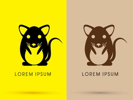 rata caricatura: Frente Negro y marrón rata del ratón de dibujos animados insignia lindo icono del símbolo gráfico vectorial.