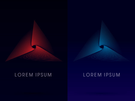 Abstract luxury pyramid  Triangle designed using red and blue line logo symbol icon graphic vector. Ilustração