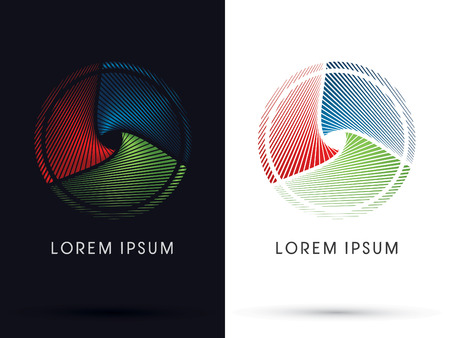 rgb: Abstract circle designed using RGB color red green blue  line logo symbol icon graphic vector.