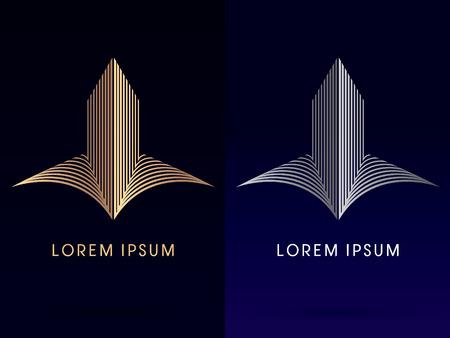zakelijk: Abstract gebouw architectuur ontworpen met behulp van goud en zilver lijn silhouettelogo symbool pictogram grafische vector.