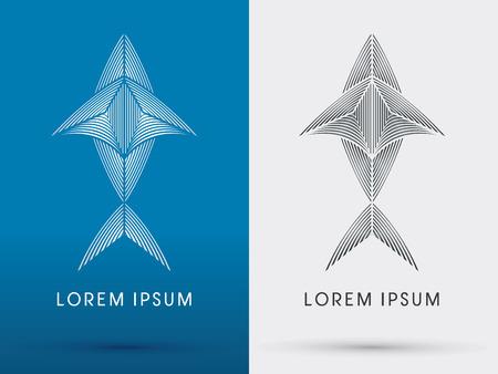 outline fish: Outline Fish shark tuna designed using white and black line  silhouette logo symbol icon graphic vector. Illustration