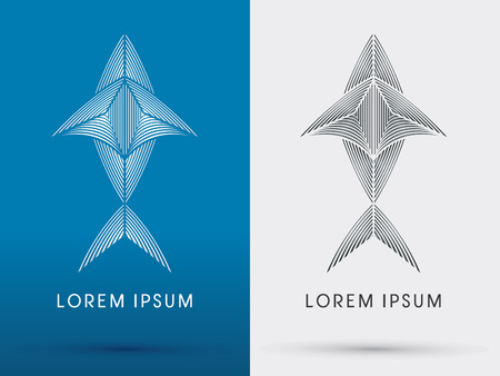 Outline Fish shark tuna designed using white and black line  silhouette logo symbol icon graphic vector. Illustration