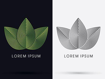 Luxe 3 Leafs ontworpen met behulp van groene linelogo symbool icoon grafische vector. Stock Illustratie
